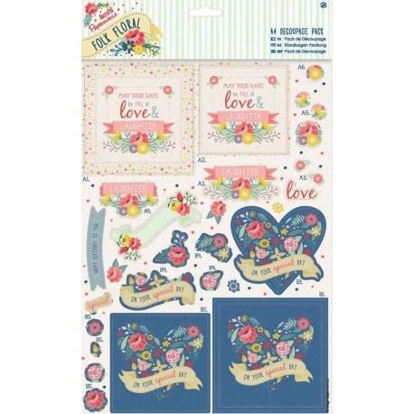 4 udstandset 3d ark og 4 papir ark, you´r the best, Folk floral