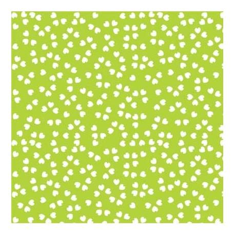 Kvadratiske kort, limegrøn med små hvide hjerter 28 x 14cm