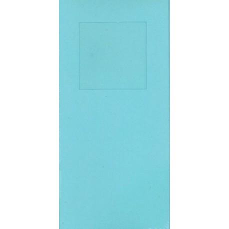Aflange kort med kuvert, 3 delt med 1 firkant, lyseblå , pk med 5 kort + kuverter