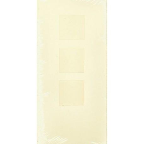 Aflange kort med kuvert, 3 delt med 3 firkanter, creme, pk med 5 kort + kuverter