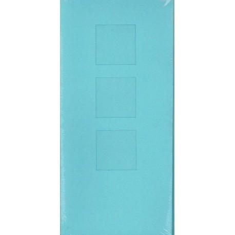 Aflange kort med kuvert, 3 delt med 3 firkanter, lyseblå, pk med 5 kort + kuverter