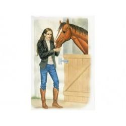 Telegram med kuvert til konfirmation, pige ved hest