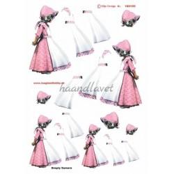 Pige i kjole, lyserød med blomster, silje design, 3D ark