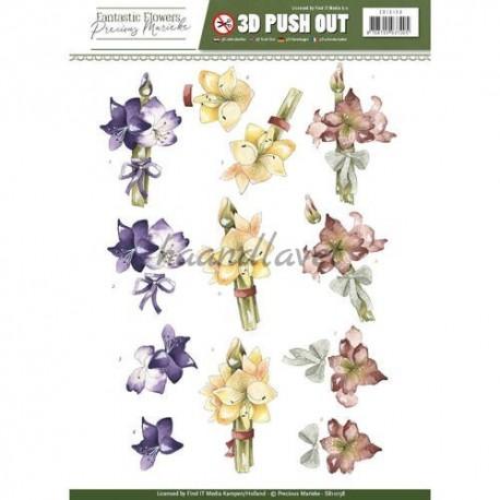 Blomsterbuket, udstandset motiver, Precious Marieke, 3D ark