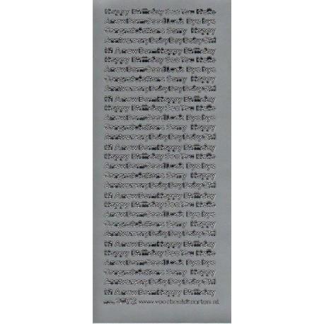 Stickers engelsk blandet tekst (sølv)