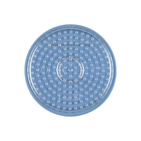 Perleplade rund, lille, transparent, diameter 8cm