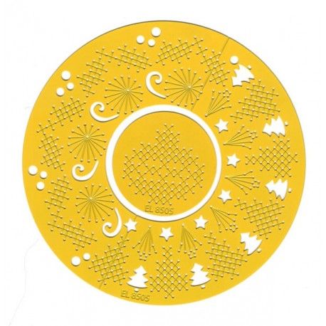 Broderi og embossing skabelon, rund skabelon, elines embroidery 05